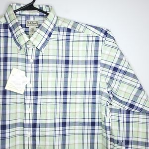 L.L. Bean Wrinkle Resistant Green Dress Shirt NWT